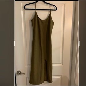 Topshop Olive Green Midi Bodycon